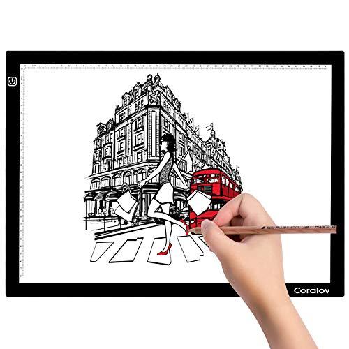 Coralov LED Leuchttisch mit USB Kabel, A3 einstellbare Helligkeit LED Tracing Lichtpad, Tracer Board für Malen, Kopieren Zeichnen, Skizzieren, Animation, Schablonieren, Designen (A3 Größe)