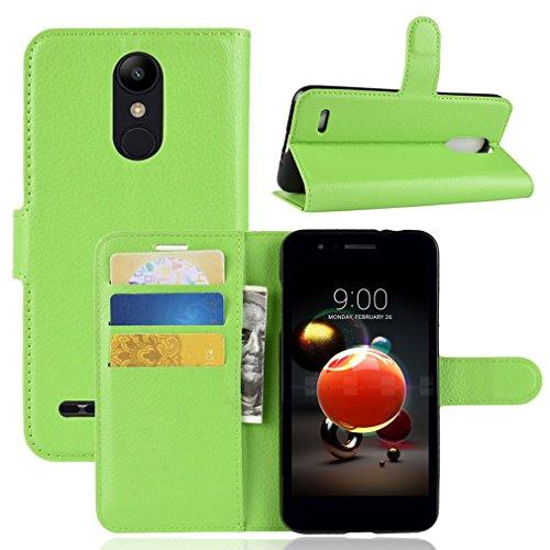 LMFULM® Hülle für LG K9 (5,0 Zoll) PU Leder Magnet Brieftasche Lederhülle Litschi Muster Standfunktion Ledertasche Flip Cover für LG K9 Grün