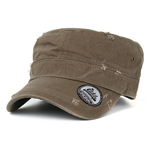 ililily Distressed Cotton Cadet Cap with Adjustable Strap Army Style Hat (cadet_527_7),Brown,One Size
