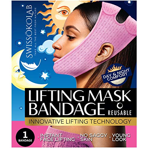 Reusable Face Slimming Strap Double Chin Reducer V Line Mask Chin Up Patch Chin V Up Contour Tightening Firming Face Lift Tape Neck Bandage V-Line Lifting Patches V Shaped Belt (Lifting Bandage)