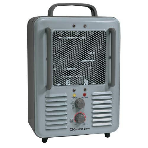 Comfort Zone CZ798 1500 Watt 3-Prong Milkhouse Utility Heater, Grey Heater Portable Space