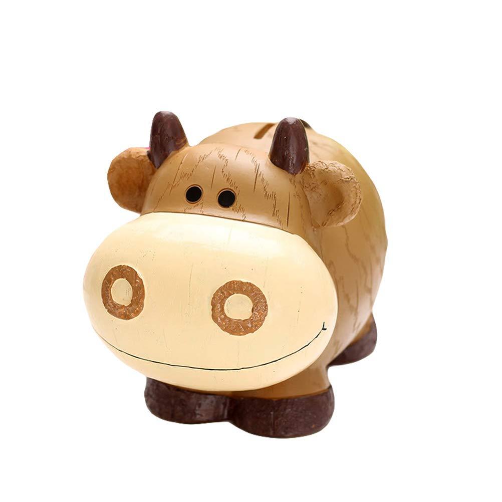 LIOOBO Cow Bank Kids Piggy Bank Caja de Dinero Caja de Ahorro de Animales Caja de Monedas Adorable Decoración de Mesa Banco de Resina para niños, niñas y niños (Marrón): Amazon.es: Hogar