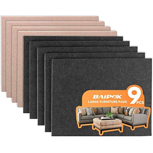 Furniture Pads 9 Pcs Two Color (Black 5 Pcs + Beige 4 Pcs) Large Felt Pads Self Adhesive, 8' x 6' x 1/5' Cuttable Felt Furniture Pads, Anti Scratch Chair Leg Pads Floor Protectors for Hard Floors