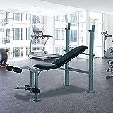 HOMCOM Heavy Duty Adjustable Multi Gym Chest Leg Arm Weight Bench w/4 Incline Postions - Black/Silver