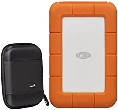 LaCie Rugged 1TB External Portable Hard Drive -USB 3.0, USB-C - STFR1000800 / STFR1000400 - with Ivation Compact Portable Hard Drive Case (Small)
