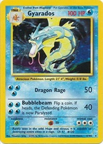 Pocket Monsters Pokemon Card - English Holo Gyarados - Base Set 6/102