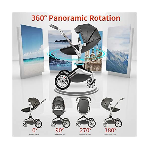 Hot Mom Pushchair 360 Rotation Function Baby Carriage Pu Leather Folding Portable Shockproof Travel System Pushchair Pram 2020(Dark Grey) HOT MOM 【360°ROTATION FUNCTION】 - The robust stroller frame can rotate 360°so that the pushchair attachments can be adjusted faster in both directions with one click.you can enjoy the mobility, flexibility and get the chance to discover the world with your baby 【INCREASE PU RUBBER WHEELS】 - The rear wheels use high-quality large tires, explosion-proof tires, puncture-proof, no inflation, front-wheel Pu rubber, non-slip, wear-resistant, with good shock absorption 【WATERPROOF PU LEATHER】 - Completely designed with Somatology Safety standard, 100% PU leather material of Egg Seat and Bassinet,High-grade waterproof,this perfect match feel more luxurious and fashionable and easy to clean.it can be easily cleaned with a wet wipe 5