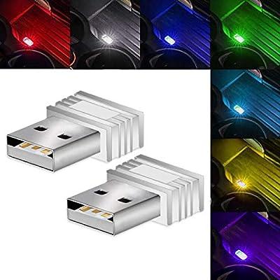 CIIHON 2Pcs USB Car Interior Atmosphere Light R...