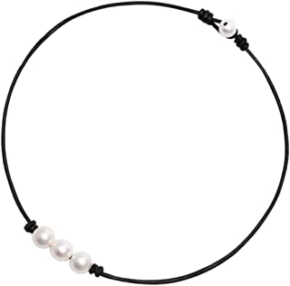 Pearl Necklace Faux Fake Pearl Pendants Dangle Simple Minimalist Choker Collarbone Chain Charms Jewelry