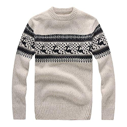 Green HX Autumn Winter heren sweater met Deer Slim Fit Men Pullover Knitted Sweater