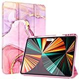 ZtotopCases for iPad Pro 12.9 Case 2021, Marble Pattern Shockproof Protective Cover with Pencil Holder, Tri-fold Stand Case with Auto Wake/Sleep for iPad Pro 12.9 Inch 5th Generation, Marble Pink