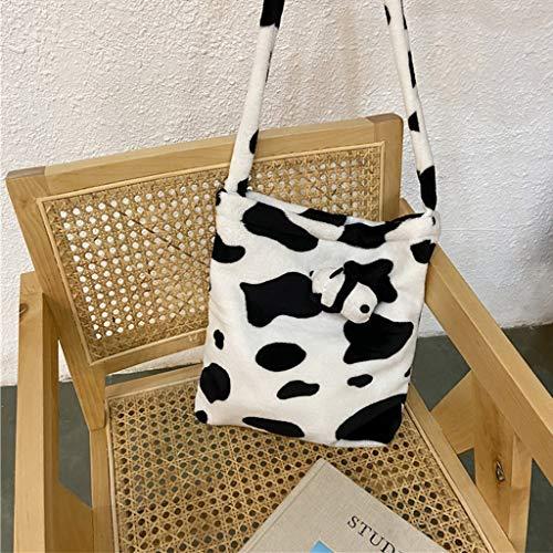 Yushu Bolso bandolera para mujer, de peluche, diseño de vaca