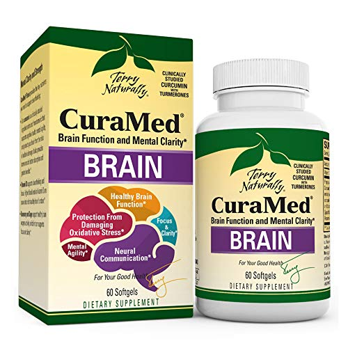 Terry Naturally Curamed Brain - 60 Softgels - BCM-95 Curcumin & Vitamin D3 Supplement, Supports Brain Health, Mental Clarity & Focus - Non-GMO, Gluten-Free - 30 Servings