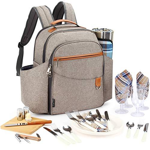 HappyPicnic Isolierter Picknick-Rucksack für 4 Personen mit komplettem Geschirr-Set, geräumiges Kühlfach, Flaschenhalter und großer wasserdichter Picknickdecke (gebürstetes Khaki) MEHRWEG