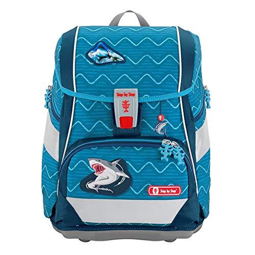 """Step by Step Schulranzen-Set 2IN1 Plus """"Angry Shark"""" 6-teilig, blau, ergonomischer Tornister mit Reflektoren, höhenverstellbar mit Hüftgurt für Jungen und Mädchen ab der 1. Klasse, 19L"""