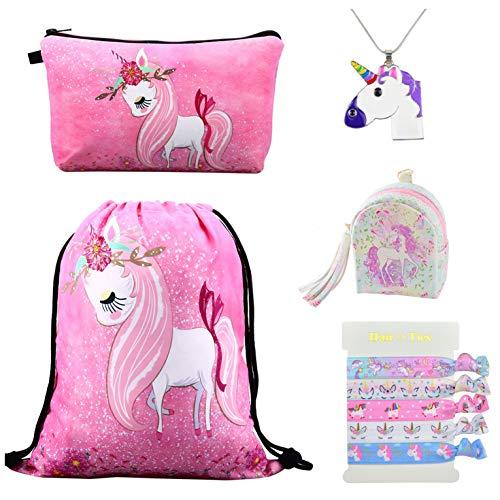 DRESHOW 5 Stück Süße Einhorn Geschenke für Mädchen - Einhorn Kordelzug Rucksack/Schminktasche/Geldbörse Taschen/Halskette/Haargummis