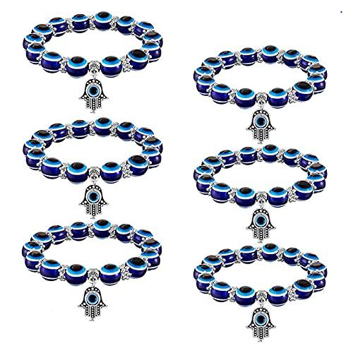 X/L Pulsera elástica Hamsa con cuentas de ojo azul, pulsera de la suerte turca de Fátima para mujeres y hombres para protección y bendición, 2 unidades.