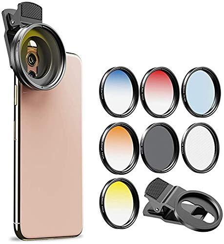 Kit de filtros de Lente de cámara para teléfonos móviles (Azul, Amarillo, Naranja, Rojo) CPL, ND32 y filtros de Estrella para Nikon Canon Gopro iPhone y Todos los teléfonos
