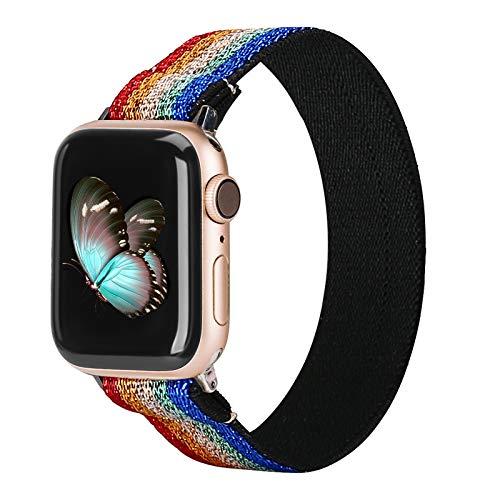 TOYOUTHS Compatible con Apple Watch 5, correa de 40 mm, nailon Scrunchie para mujer, tejido estampado, correa de repuesto para IWatch Series 5/4/3/2/1.