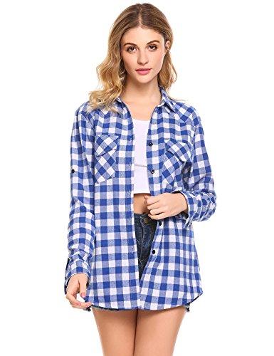 Unibelle Kariertes Hemd Damen Langarm Karohemd Bluse Damen Baumwolle mit Einstellbare Ärmeln(Hellblau,S)