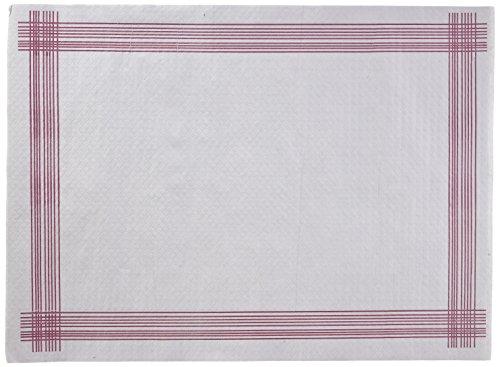 Morigami Mantel Individual, 30 x 40 cm, gofrado, 38 gramos, Cenefa burdeos, 800 unidades