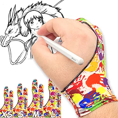 TIMEBETTER Artist Drawing Glove, Digital Art Palm Rejection Gloves for Tablet, iPad, Smudge Guard, Two Finger, Suitable for Both Left and Right Hands - Colored Handprints, Large, Pack of 2