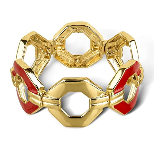 Lux Accessories Goldtone and Red Enamel Chain Pattern Cutout Stretch Bracelet