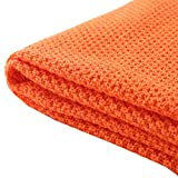 Treely 100% Cotton Knitted Throw Blanket for Couch Chair Bed Home Decorative, Soft & Cozy Knit Throw Blanket(50'x60', Orange)