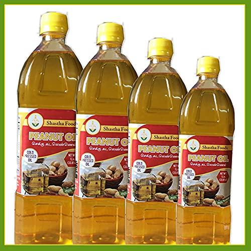 Shastha Cold Pressed (Chekku) Peanut Oil - 1 Ltr (Pack of 4) (T-M)