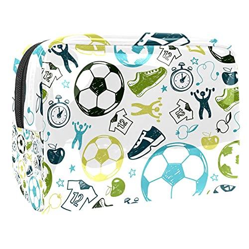 Kosmetiktasche Fußball Kulturbeutel Reise Make Up Tasche wasserdichte Organizer Multifunktions für Make-up Pinsel Lidschatten Lippenstifte 18.5x7.5x13cm
