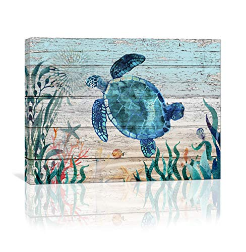 Price comparison product image Home Wall Art for Bathroom Sea Turtle Wall Decor Bathroom Decor Prints Canvas Wall Art Ocean Decor Small Framed Artwork for Walls Vintage Paintings on Canvas Prints,  12''x16'' inch