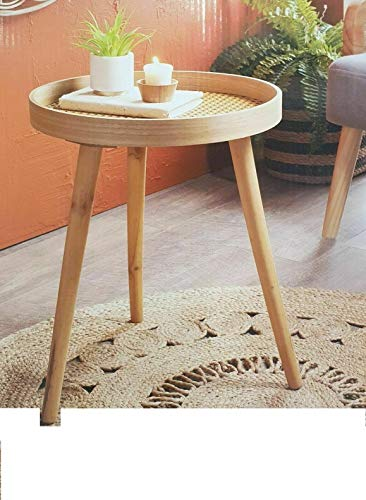 Scotvision Urban Paradise Round Side Table With Cane Detail Stylish Coffee Table - Natural