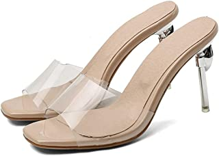 Solid Color High Heel Slippers (Color : Apricot, Size : 41)