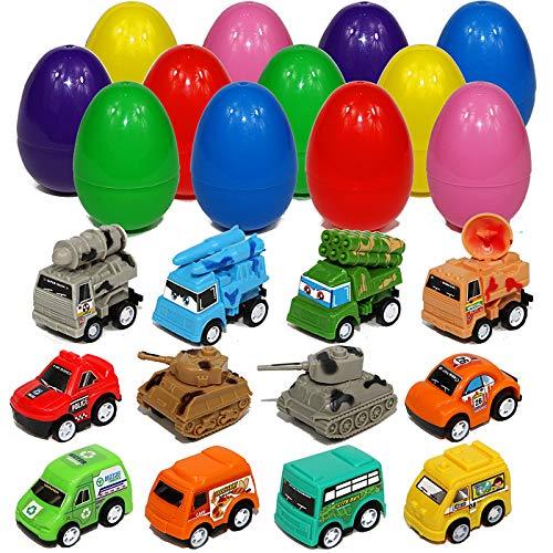 Toy Filled Large Easter Eggs with Pull-Back Vehicles Cars Trucks Tank Big Surprise Egg Hunt Basket Filler for Kids Boys and Girls Christmas