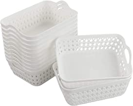 Hokky plastikowe zestawy koszyków do przechowywania, 12-pak białe kosze taca (mała)