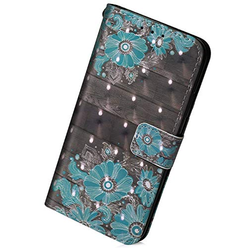 Herbests Kompatibel mit Samsung Galaxy M31 Hülle Leder Handyhülle Bunt Glänzend Glitzer Muster Klapphülle Brieftasche Schutzhülle Flip Case Tasche Ständer Kartenfächer,Blau Blume