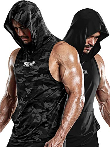 DRSKIN 2 Pack Men's Hooded Tank Tops Bodybuilding Muscle Cut Off T Shirt Sleeveless Gym...