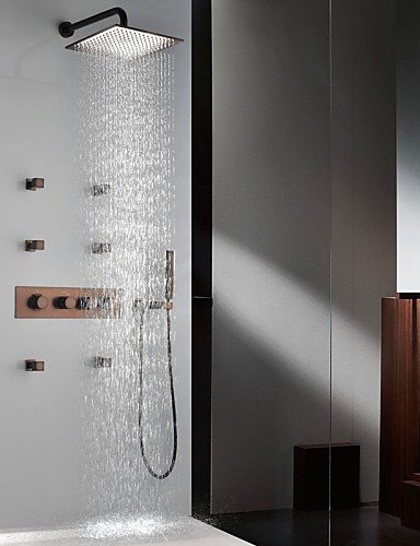 MEICHEN Grifo de ducha - Antiguo - Con Termostato - Latón (Latón Envejecido)