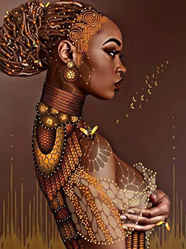 Tucocoo African American Wall Art DIY Kits 5D Diamond Painting Kits for Adults African Woman Diamond Art Kits Bee Women Portrait Diamond Embroidery Rhinestones Painting Home Decor 12x16 Inch