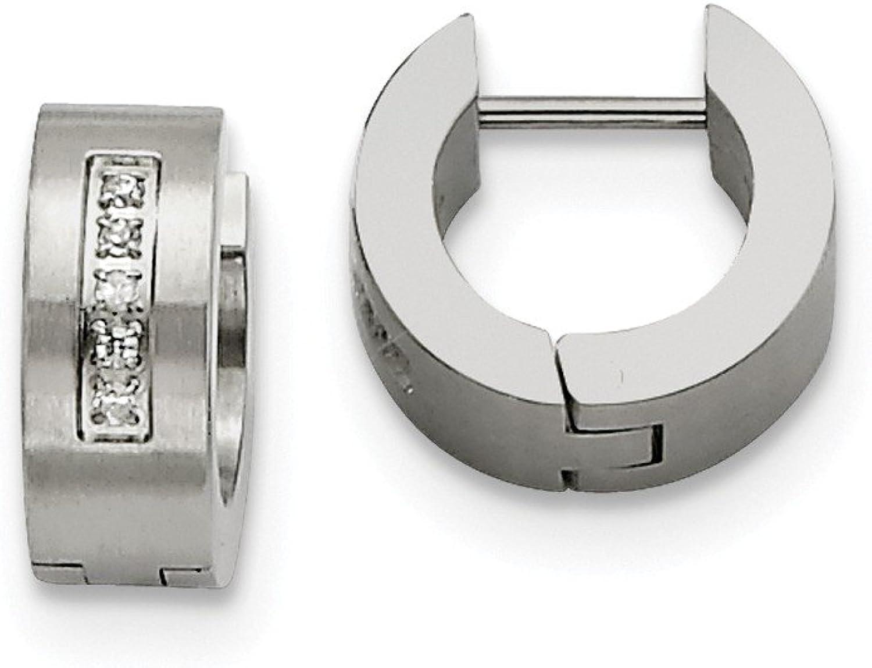 Beautiful Stainless Steel CZ Brushed & Polished Hinged Hoop Earrings