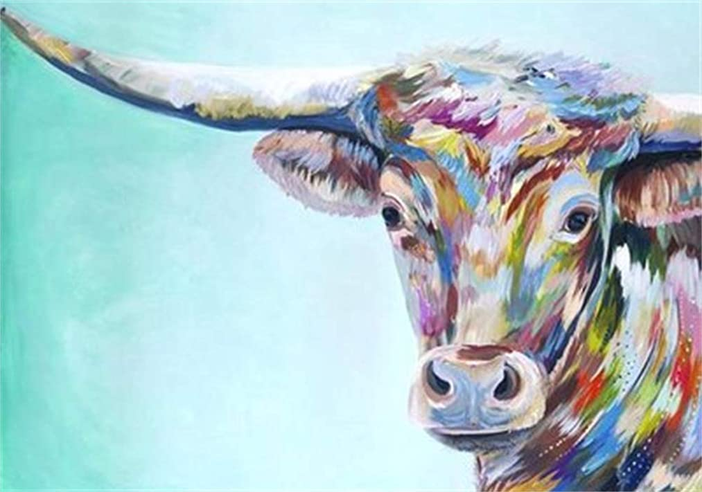 DIY 5D Diamond Painting Full Area Round Cow,Handmade Paste Painting Resin Cross Stitch Kit Home Decor Wall Decoration(16x12inch)