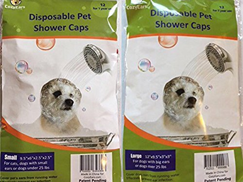 Disposable Pet Shower Caps, Ear Infection Prevention, Ears Drops Guard, Surgical Area Cover, Overhanging Ears Protection for Dogs, Cats, Bath, Rain, Water, 12 Caps/Pack (Large & Small)