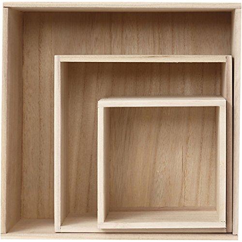 Aufbewahrungsboxen, Größe 28 x 28 x 12,5 cm, Kaiserbaum, quadratisch, 3 Stück