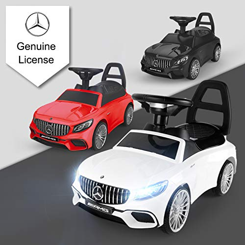 POCO DIVO Ride-on Toy, Licensed Mercedes-Benz AMG Baby Racing Car, 3in1 Walker, Toddler Gliding Scooter, Pulling Cart with Sound & Light, Black