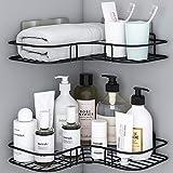 Lot de 2 étagères d'angle de salle de bain avec autocollant adhésif en acier inoxydable antirouille pour accessoires de cuisine et de salle de bain - Comprend 4 autocollants adhésifs (Noir)