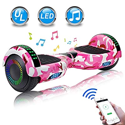 """UNI-SUN Hoverboard for Kids, 6.5"""" Two Wheel Electric Scooter, Self Balancing Hoverboard with LED Lights for Adults, UL 2272 Certified Hover Board (BT Camo Pink)"""