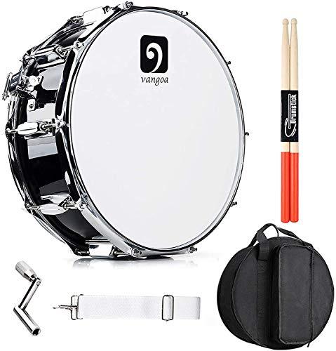 Vangoa Snare Drum 14 Zoll Ahornholz Cavity Kleine Trommel Akustik Schlagzeug Snaredrums mit Snare Drähten, Tragetasche, Übungspad, Drumsticks, Stimmschlüssel, Gurt
