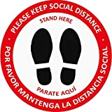 Social Distancing Floor Decals 5 Pack| 15'' Bilingual Round Vinyl Removable Social Distancing Signage | Waterproof| Maintain Social Distance Floor Stickers| 6 Feet Apart Stand Here Floor Marker