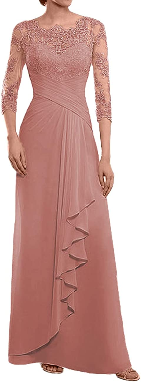 Mother of The Bride Dresses Long Evening Formal Dress Lace Appliques 3/4 Sleeve Ruffles