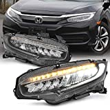 [Halogen Upgrade TYPE-R Style] AKKON FULL LED SEQUENTIAL Headlight For 2016-2020 Honda Civic LX/EX/Si FC FK Pair
